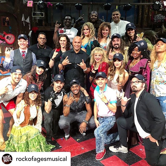 It was a home-run at @rockofagesmusical last night as the @yankees featuring @cc_sabathia rocked out with the cast in support of the @carlosbeltranfoundation ⚾️🎸 Thanks to everyone who made this rockin' night a grand-slam success! . . . #YankeesNight #RockofAges #RockofAges10 #nyc #theater #offbroadway #offbway