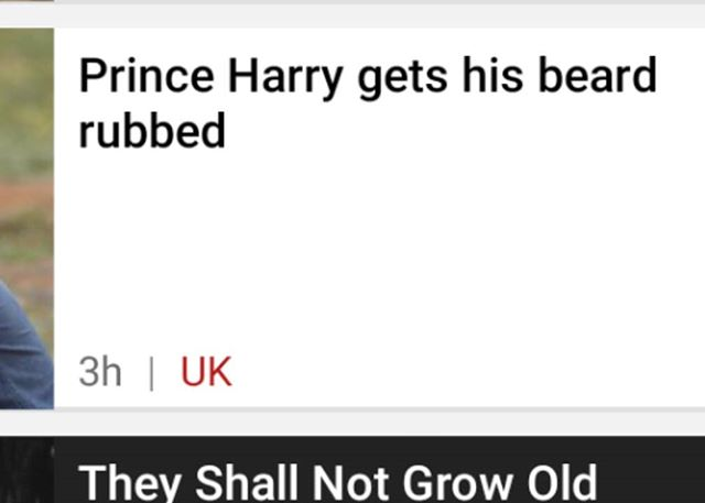 On the actual front page of BBC news website today. It's like #punk never happened. This is why we need more gigs... #yessir #bbcnews #princeharry #thenews