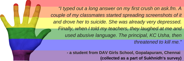 """I was bullied [by classmates] for not showing masculine traits 7th grade onwards...Two male teachers asked me why I'm not masculine. One caught me almost committing suicide, and told me not to do that as it's a very (9).png"