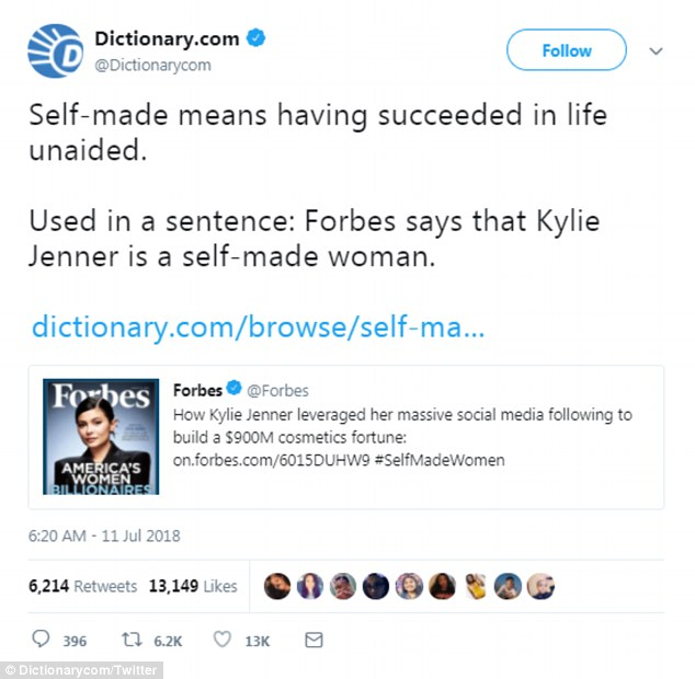Dictionary.com shading Forbes on Twitter