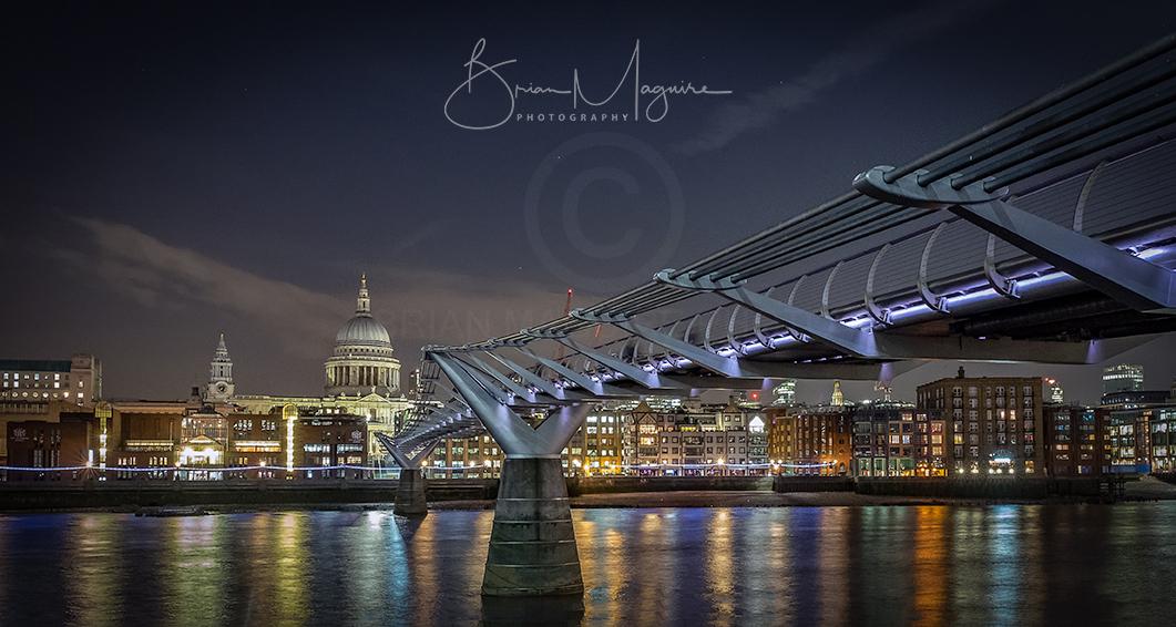 """LON0010 """"Millennium Bridge at night"""""""