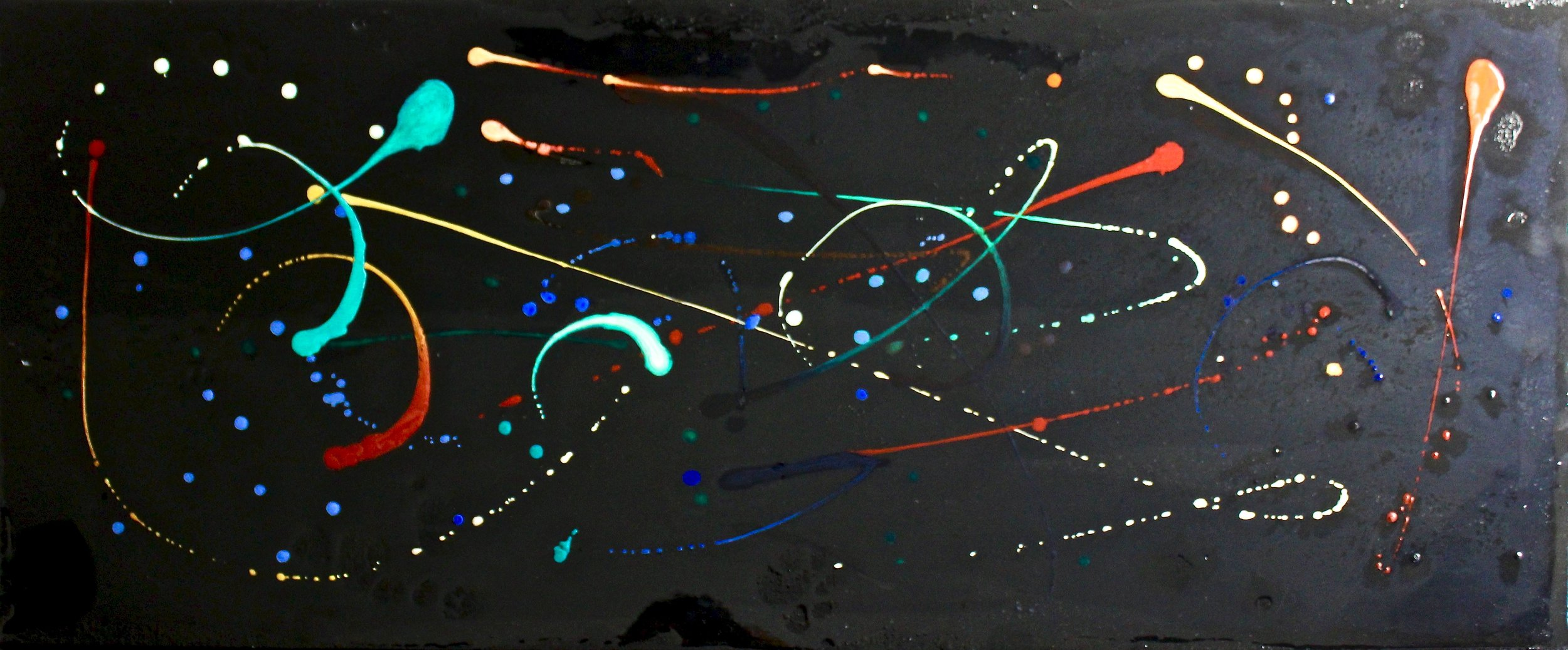 Stardust -  2017 mixed media; wax, acrylic and resin on canvas 40.5cm x 101.5cm