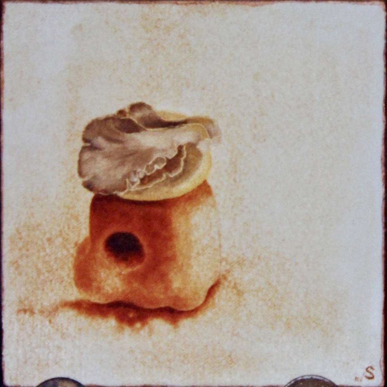 Ongo on Block -  1997 oil on canvas 30cm x 30cm (sold)
