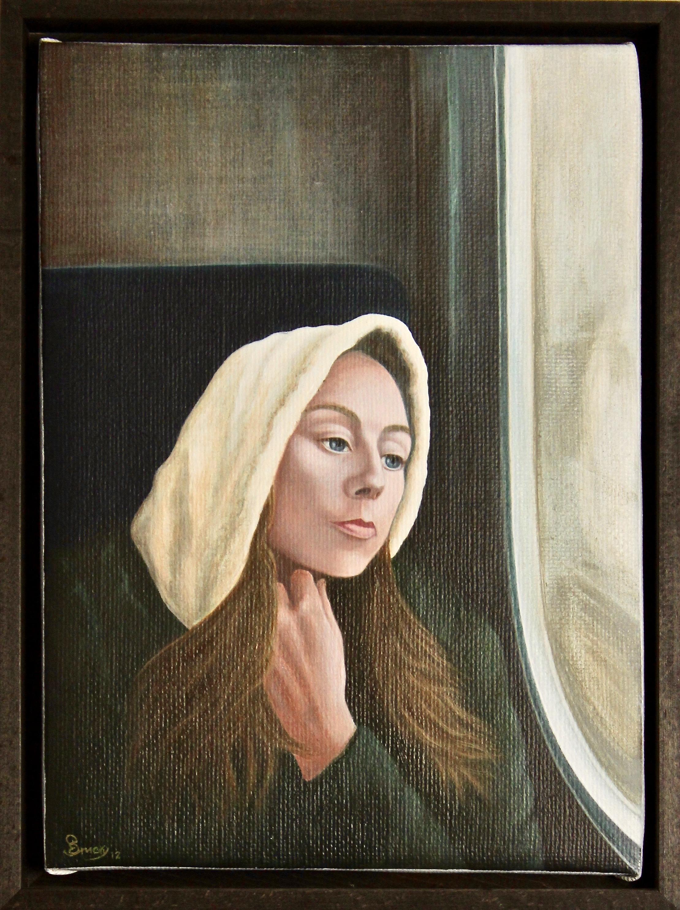 Hooded Down -  2013 acrylic on canvas 29cm x 39cm