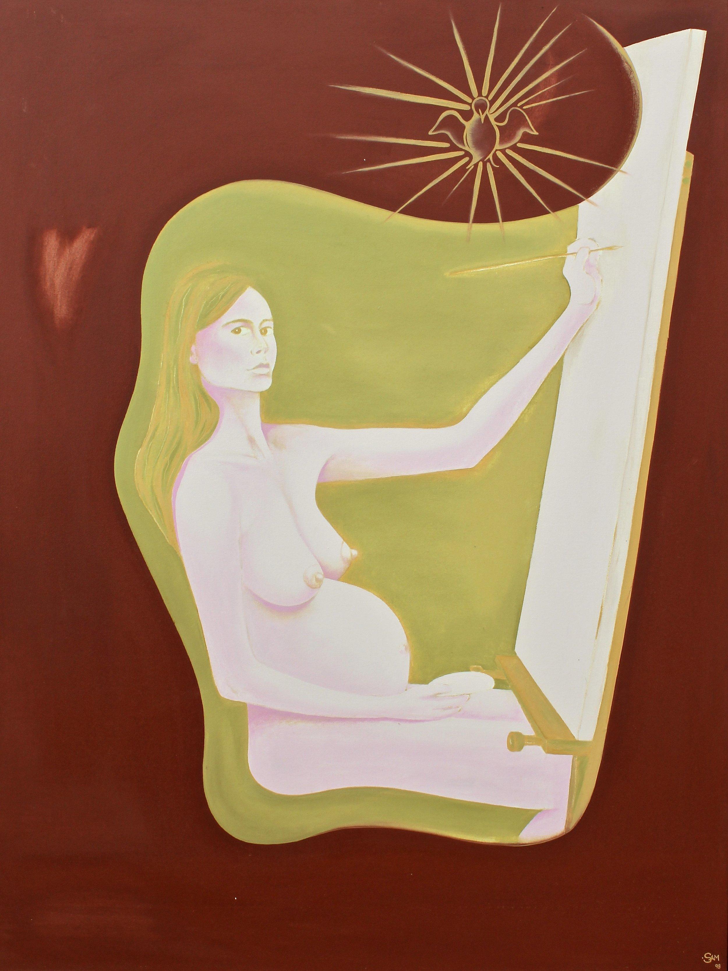 Self Pregnancy Portrait -  1998 oil on canvas 100cm x 138cm
