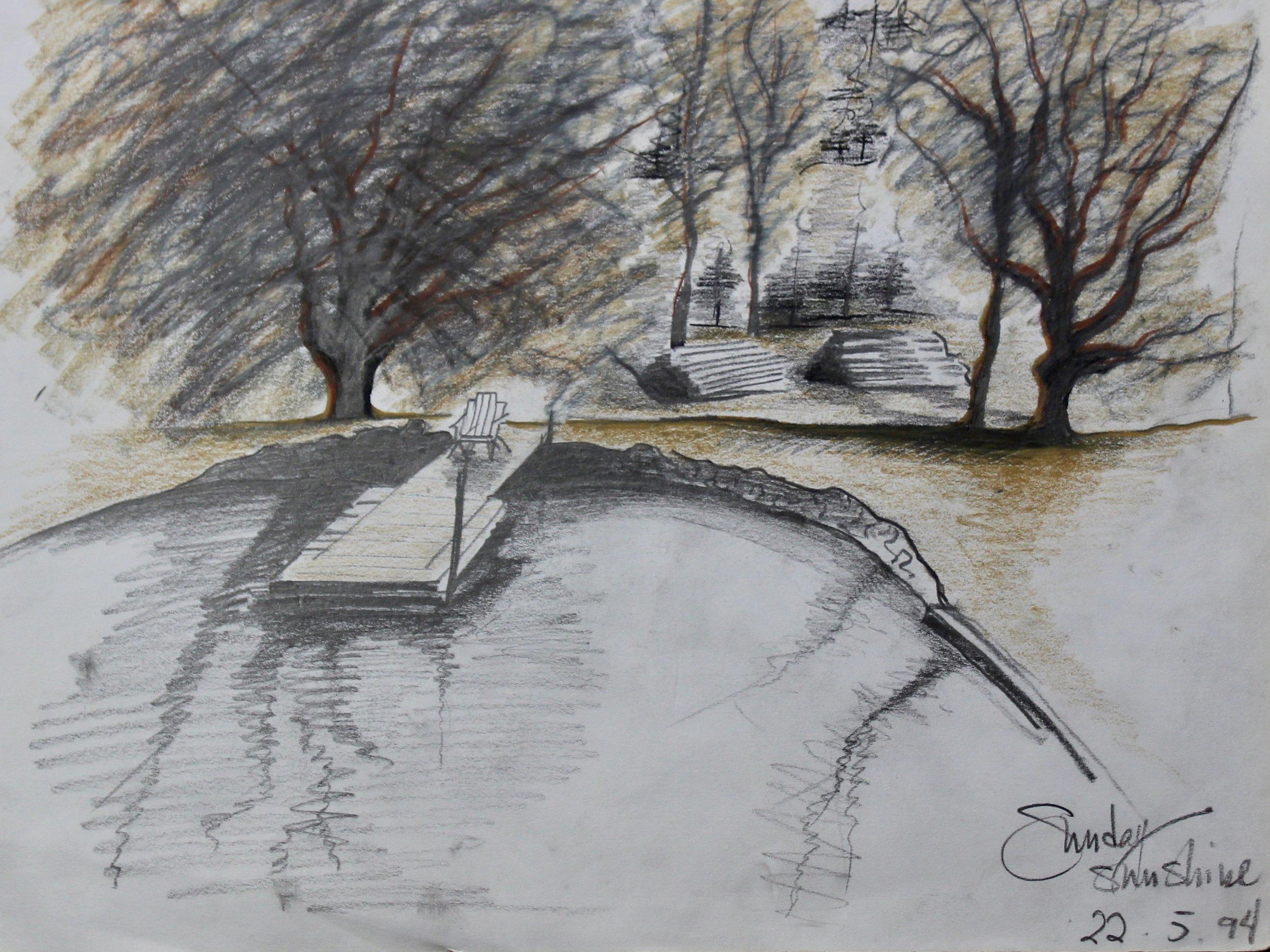 Mansfield Pond -  1999 pencil on paper 20cm x 26cm