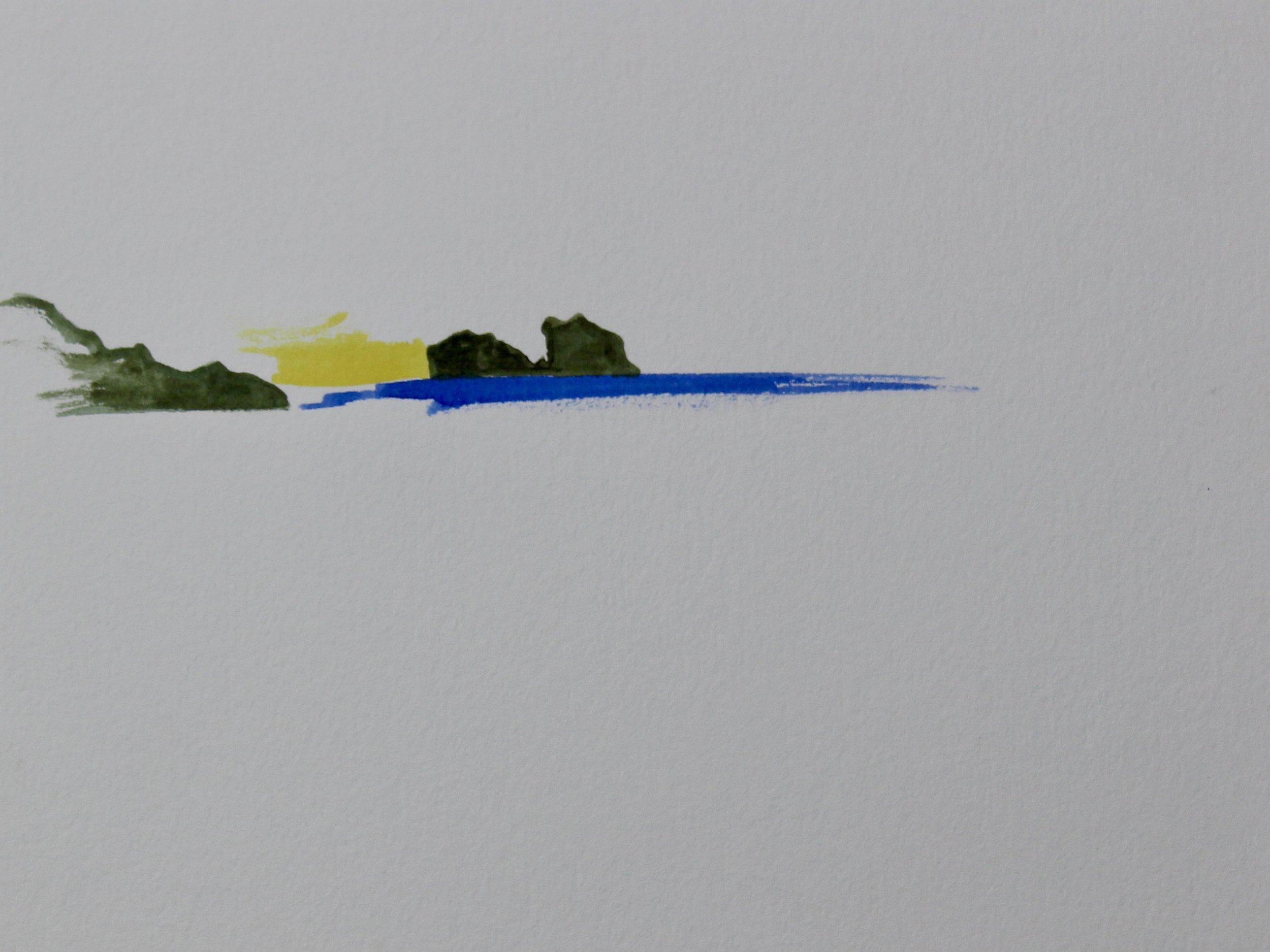 Izmir Daybreak -  2006 watercolour on paper 20cm x 26cm