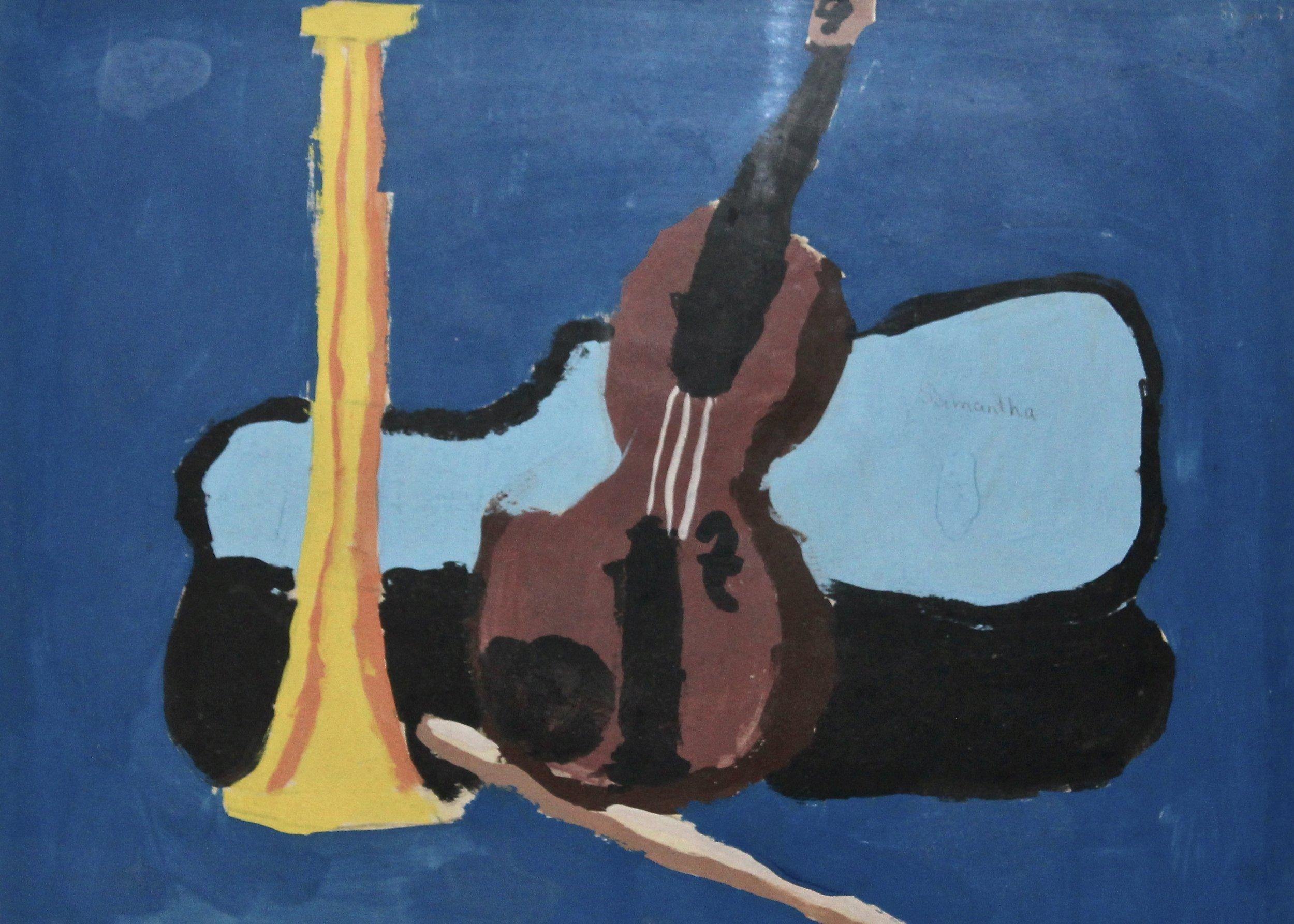 Music, I Love. -  1974 acrylic on canvas 66cm x 79cm