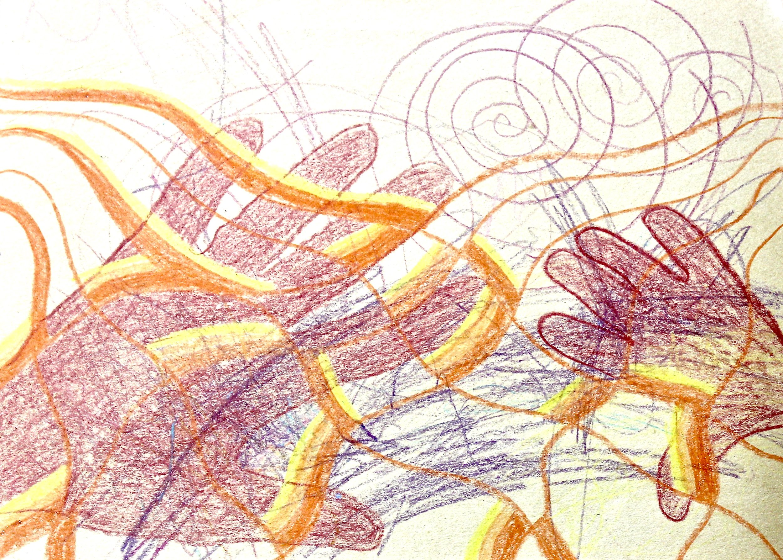You and I Touch -  1999 crayon on paper 20cm x 26cm