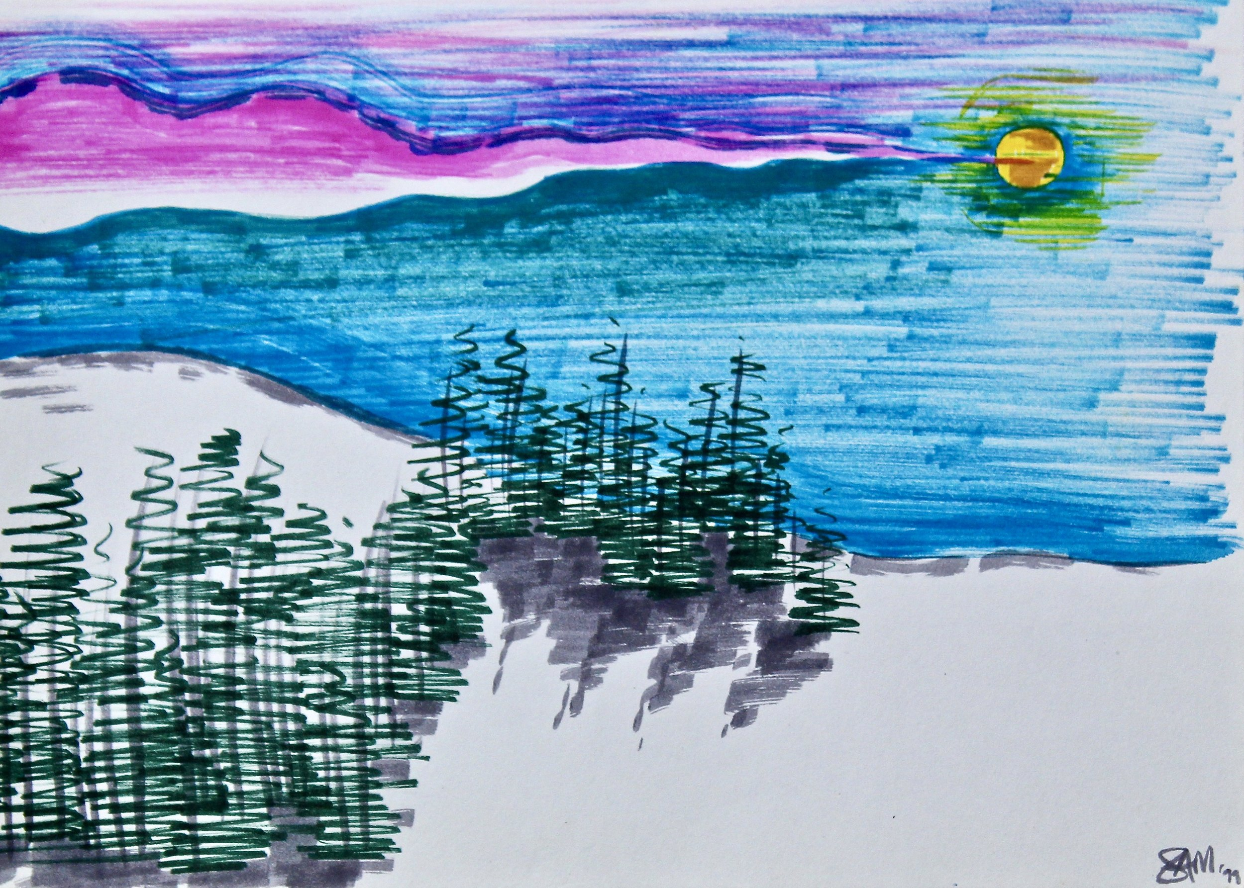 Visiting Jack Rabbit -  1989 coloured marker on paper 20cm x 26cm
