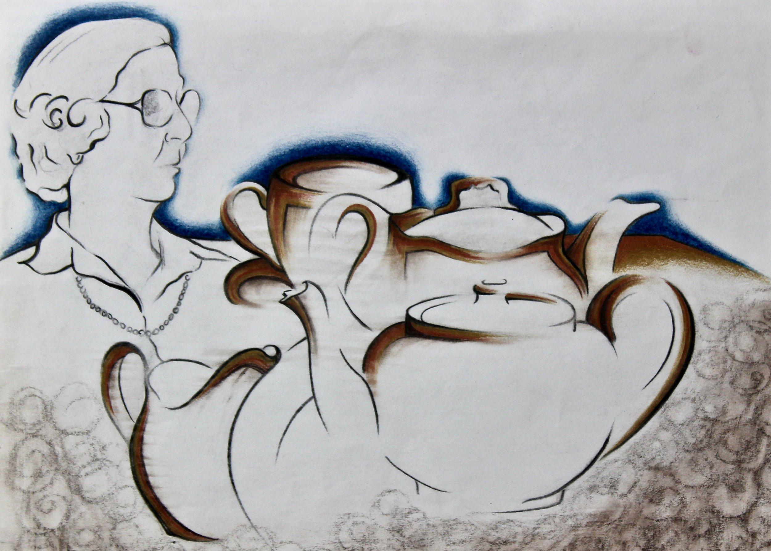 Tea with Gran Gran -  1991 pencil and watercolour on paper 20cm x 26cm