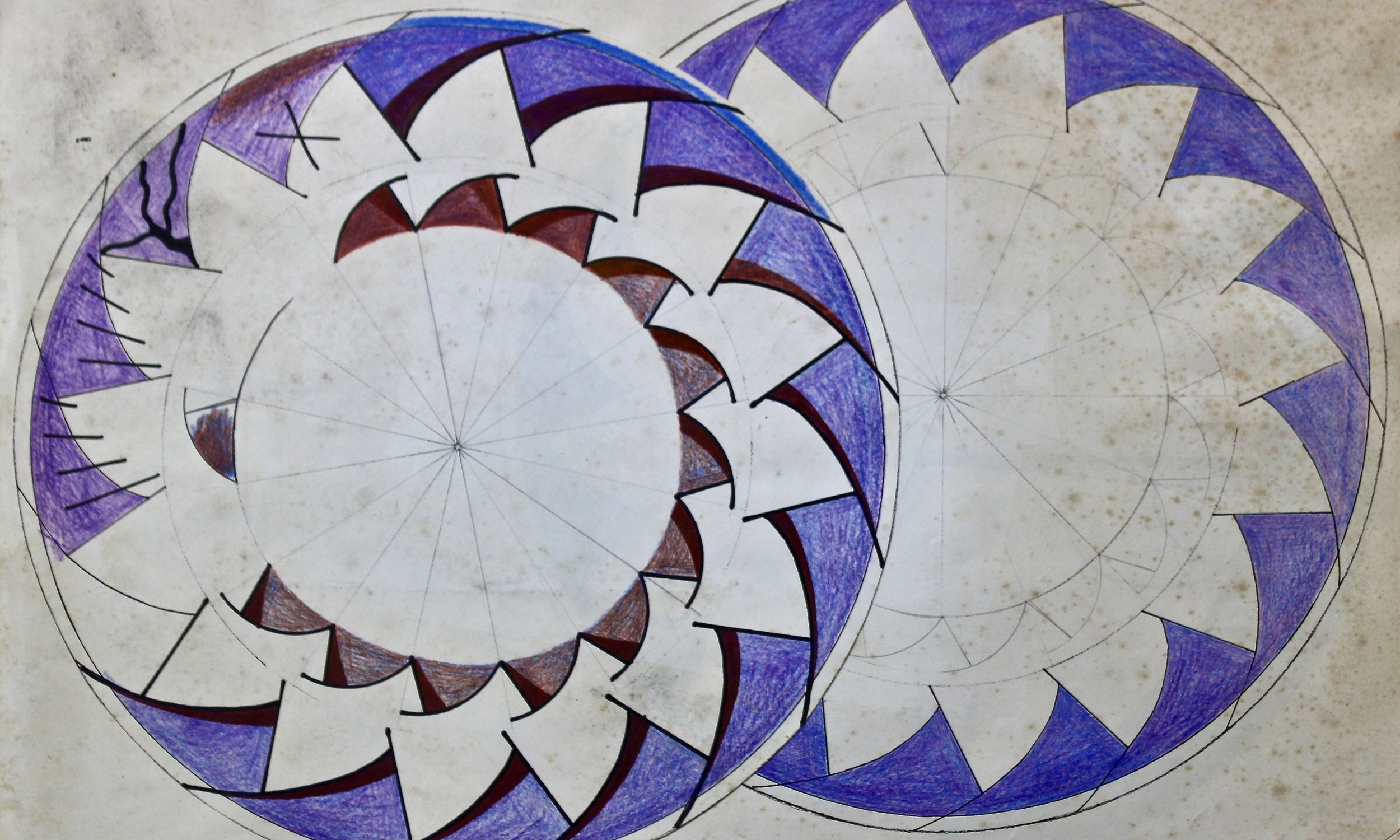 Aztec Plate Design -  1991 ink and pencil on paper 30cm x 60cm