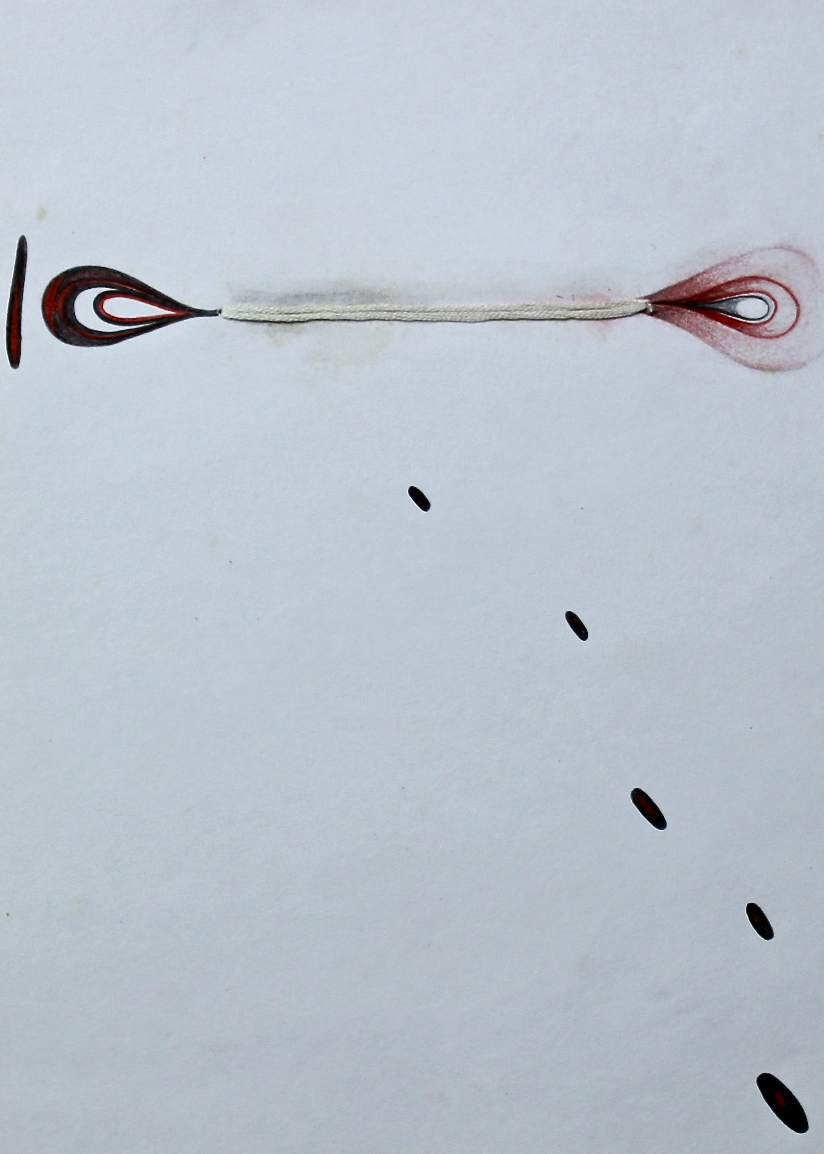 Walk from the Candle of Both Ends -  1999 ink on paper with thread 10cm x 26cm