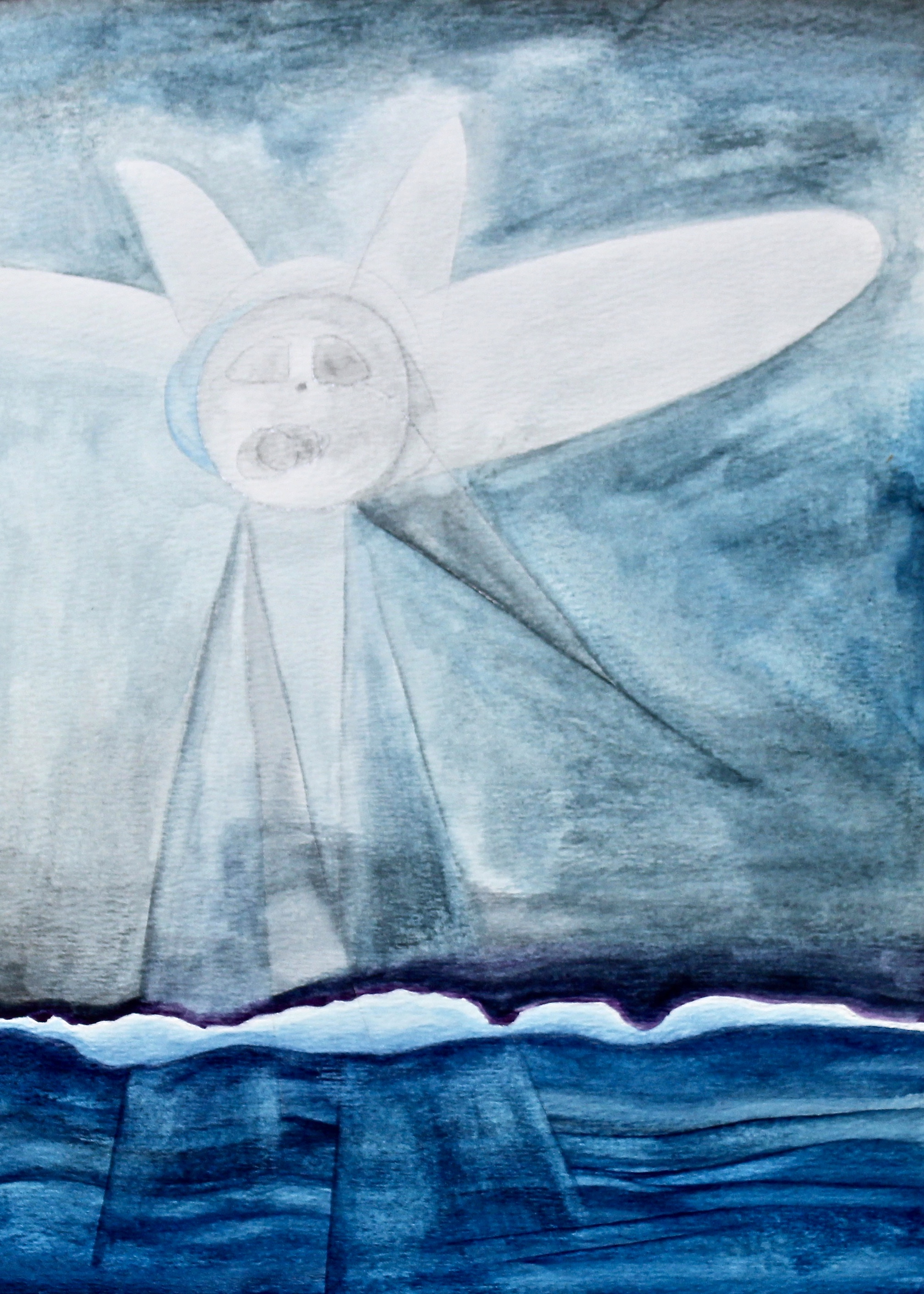 Clouds Shine Too -  1996 watercolour on paper 10cm x 26cm