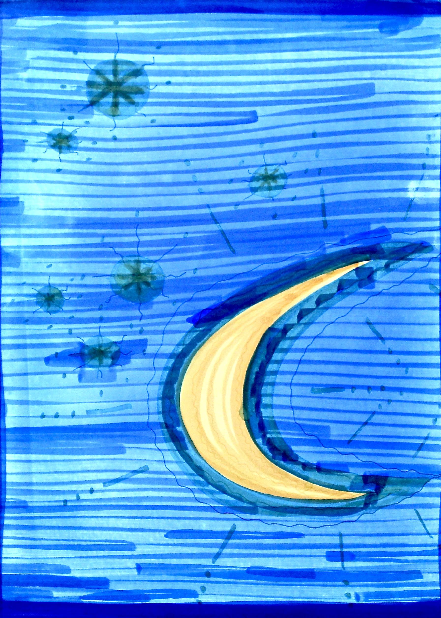 Sleep Now -  1997 coloured marker on paper 10cm x 26cm