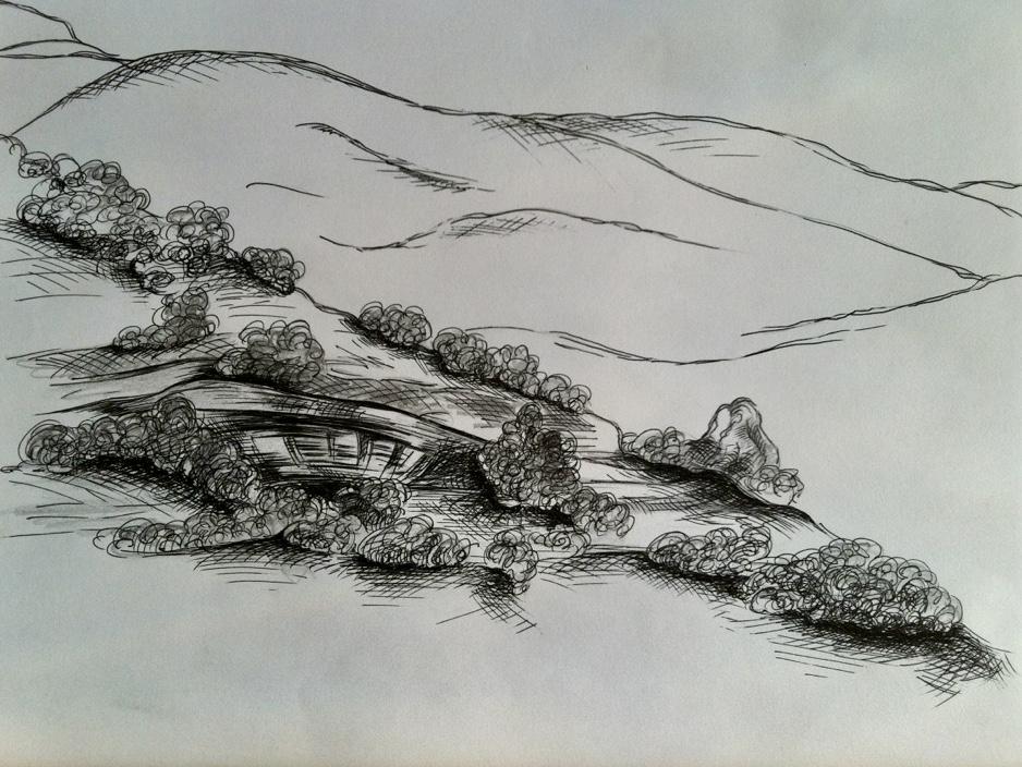 Halicarnassus Hills -  2009 ink on paper 20cm x 30cm (sold)