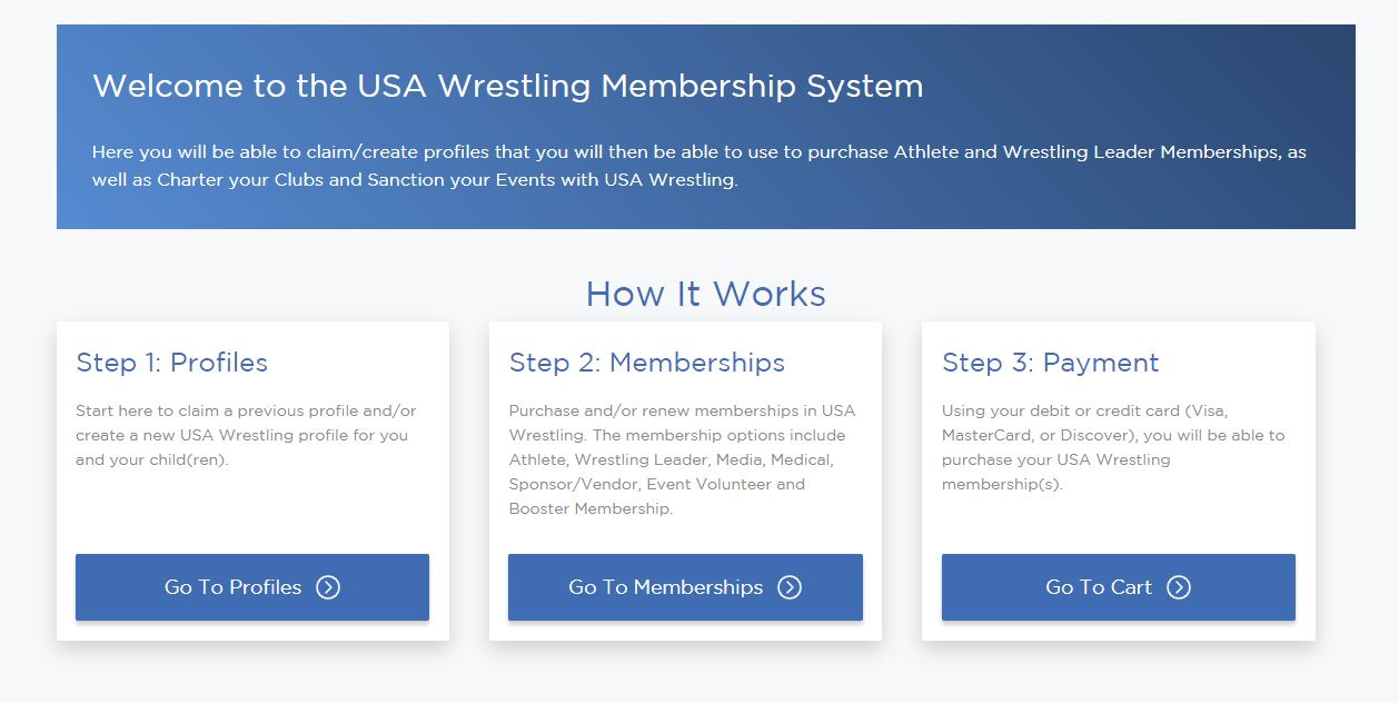 Follow this process to complete USA Wrestling Registration