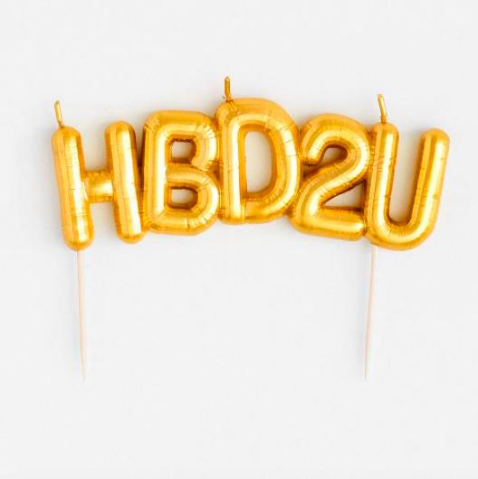 HB2U Gold Balloon Candle