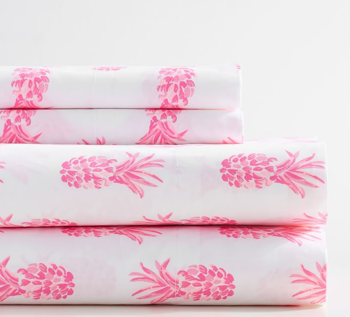 Pineapple Pink Print Sheet Set