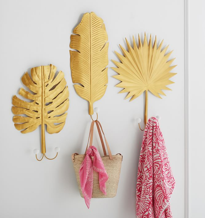 Palm Leaf Wall Hooks, Set of 3