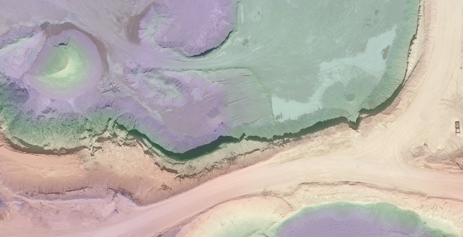 Orthometric photography and digital surface mapping of a gravel pit