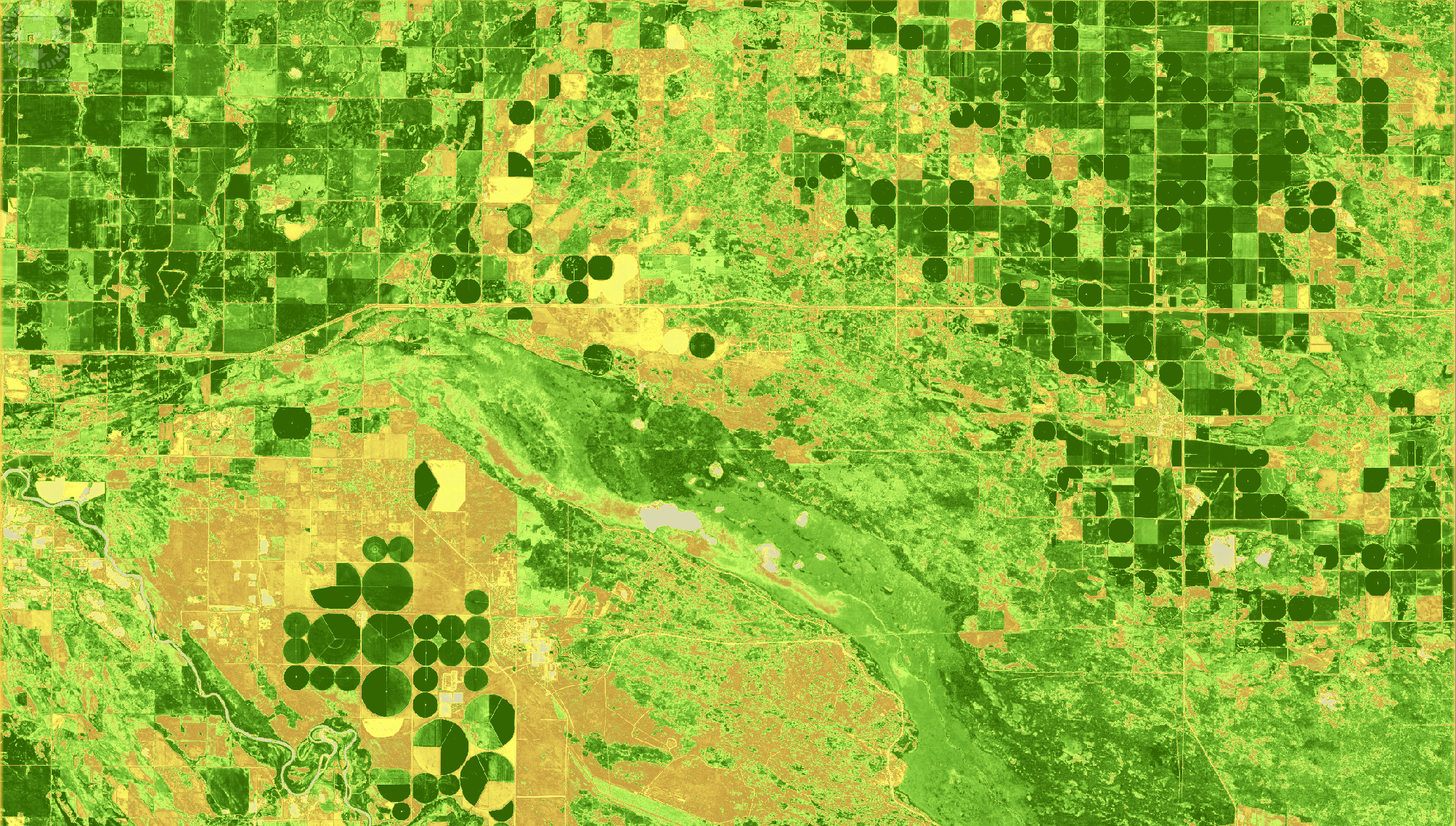 Normalized Difference Vegetation Index (NDVI) at 10 m resolution near Brandon, MB, July 23, 2017. Copyright: contains modified ESA data.