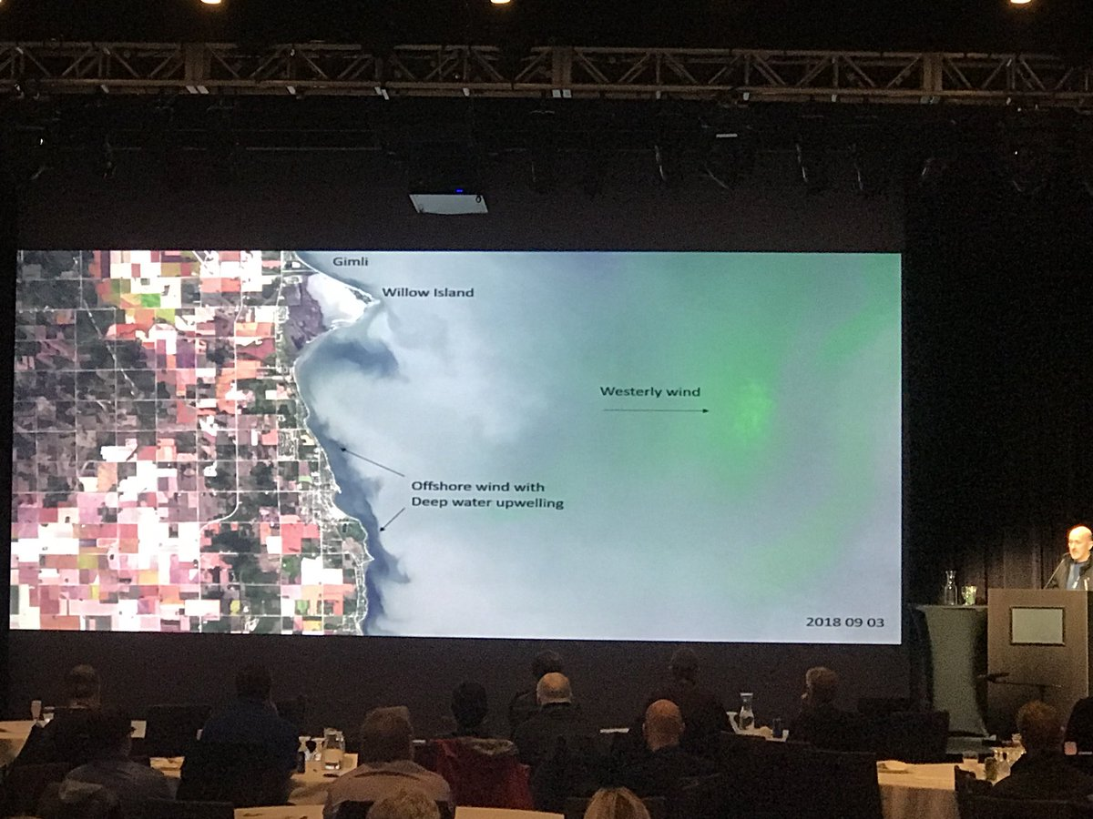 NextGen's invited presentation on BloomFinder, Manitoba GIS Users Group Conference, October 17, 2018. This slide shows upwelling of clear (radiometrically dark pixels) bottom water during the bloom season. Images like this can help you plan for a great day on the beach.