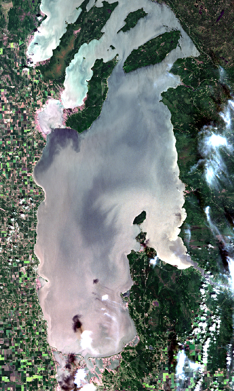 July 10, 2019. Algal blooms are beginning to be visible in the offshore zone of the south basin (in the source imagery which is harder to see in this graphic). Blooms are starting to show also in the nearshore areas by Victoria Beach, Hillside Beach, Grand Beach, and Patricia Beach. The west shore lacks these starter blooms. The lagoon at Grand Beach, which is often used for watersports, is starting to show algal growth as well. Click    here    to see the full resolution satellite image. Modified ESA data.