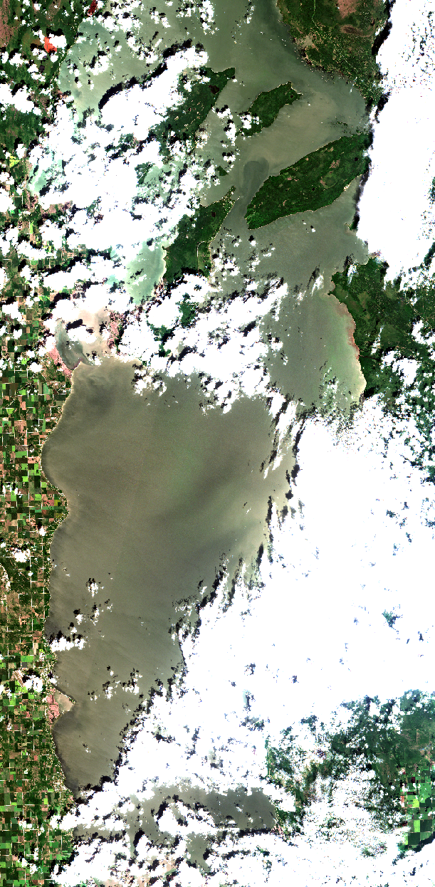 July 15, 2019. Although partially cloud covered, offshore blooms are now developing and can be seen in this image over large areas but most notably on the east side of the lake south of the Manigotogan River where tea-stained water rich in dissolved organics enters the lake as plumes. Recently, the west side of the south basin has had better conditions for recreation when compared to the east beaches as an upwelling event has brought bottom water free of floating algae up onto the shore. This looks like darker water image pixels running along the shore as a band because the relatively clear water absorbs the suns light, and less returns to the satellite. We have great images of upwelling in our   2018 archive   on the west shore and in Traverse Bay. Also this relatively clear water shows sand waves visible in shallow water south of Willow Island. Zoom into the real satellite data on our website and see the shallow water sand waves just south of the lagoon at Gimli. Yes you can at times see the lake depth changes! Zoom into this satellite image by clicking here. Modified ESA data.