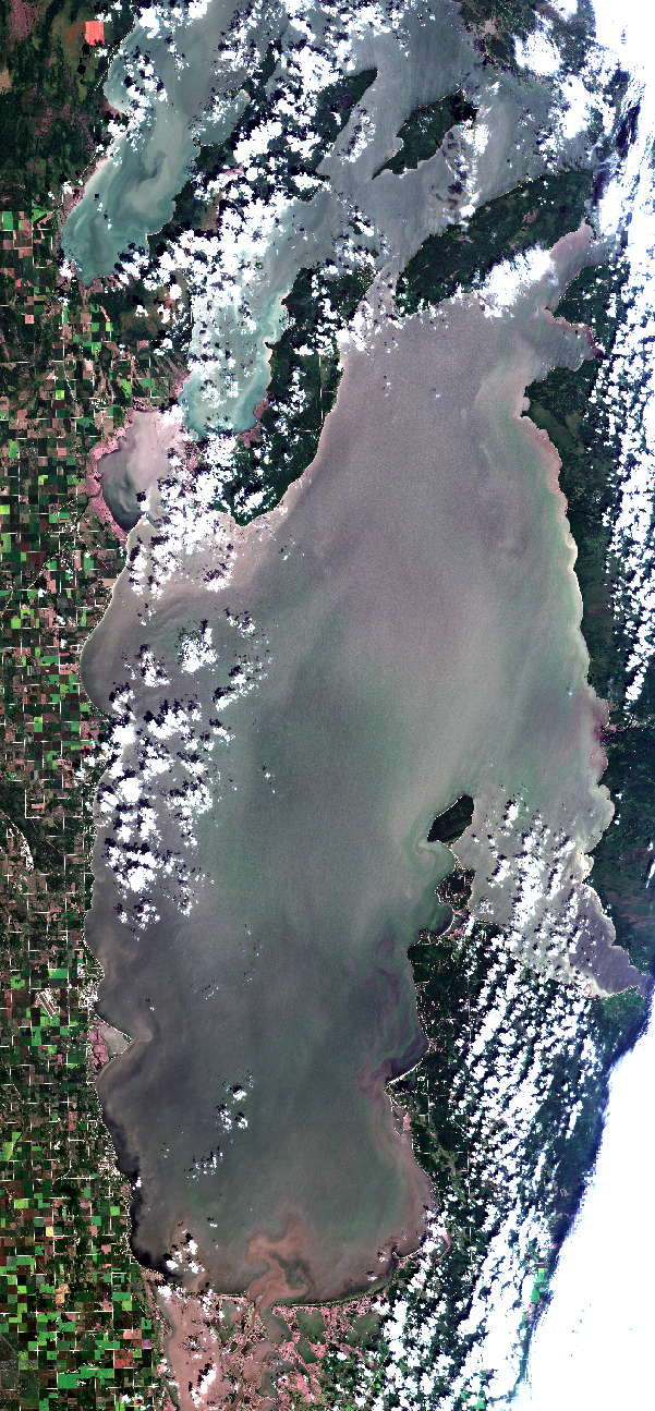 July 25, 2019. The effects of persistent westerly winds continue to move blooms towards the east side beaches. This pattern will likely continue through Saturday July 27 due to a forecast of continued west winds. Meanwhile, on the west side, conditions are more favorable for water recreation this weekend. In particular, upwelling of relatively clear bottom water (with little floating algae) is occurring now most notably in the Winnipeg Beach and Dunnottar areas. For those on the east side you can expect changing algal conditions. For the boaters of the east beaches, you might try Traverse Bay on Saturday as fewer blooms will be visible, and there will be some protection from the west wind. Winds shift to the south Sunday, which could change what you see on the east side beaches Saturday. Some beaches may improve! Use the BloomFinder FaceBook Group to let your neighbors know if you have good beach conditions! To see this image in high resolution use our mapping service, click    here   . Modified ESA data.