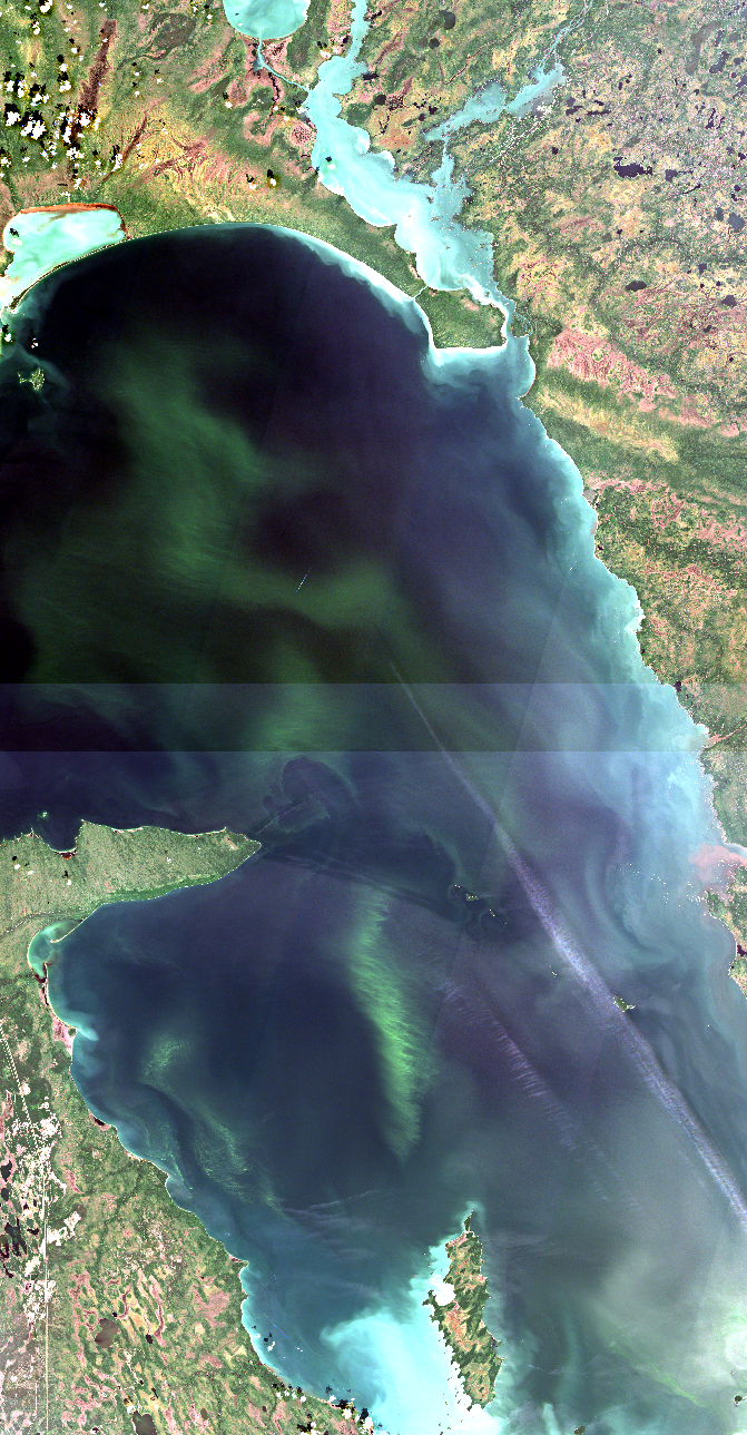 """July 23, 2019. The north basin is 100 km across from west to east, or about the same distance as the drive from Winnipeg to Victoria Beach. The offshore algal blooms which extend on a south to north axis are more than 120 km long. Everything about this basin IS BIG! The image shows an optical gradient also on a south to north direction as the water depth increases to the north. This allows sediments to permanently fall to the lake be below the effects of waves. Nearshore, bright reflections are evident west of Reindeer Island, just above this text, due to shallow water re-suspension which reflects a lot of sunlight back to the satellite. Re-suspension is also occurring along the east coast along the very edge of the Precambrian Shield. The east side of the lake is riddled with granite shoals. Click on the image, or click    here   , to open our map server to see the hundreds of shoals that make navigation here super challenging. You may also be surprised to find two jet planes and their shadows on the water crossing the basin! Their contrails (condensation trails) are easy to see as are the planes, too. Remember, satellites are higher than 500 km and jet planes fly very close to the earth. You might be puzzled when you see how the planes and contrails look when imaged by a satellite! Hint, it takes about 4 seconds to make each of these two images shown above and satellites have more than one """"camera"""". Can you find the planes and figure out why these features look like this? Modified ESA data."""