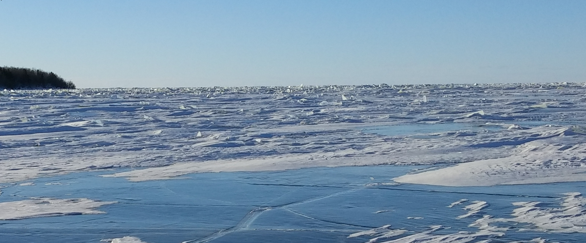 Rubble ice fields are seldom navigable and can be large. Maps of rubble fields improve routing access for lake ice travel by citizens and first responders.