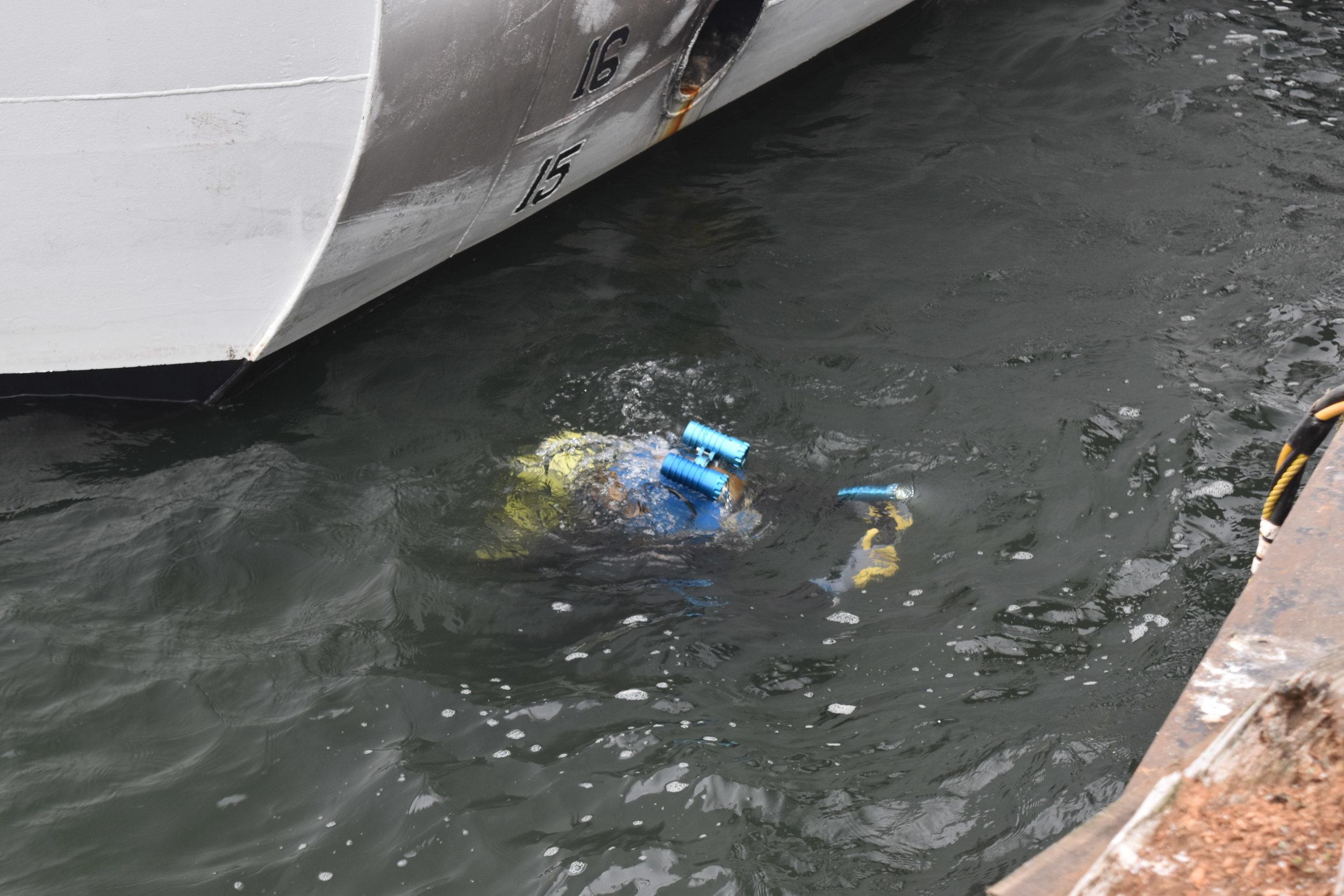 Inspecting a U.S. Coast Guard Vessel