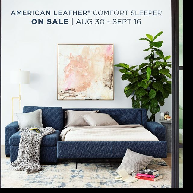 Be prepared for unexpected guests with American Leather's Comfort Sleeper-the only sleeper you can actually sleep on! Available in sizes from cot to king. #sleepincomfort  Aug 30 - Sept 16