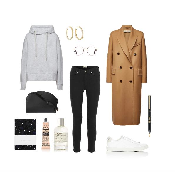wool coat and sneakers