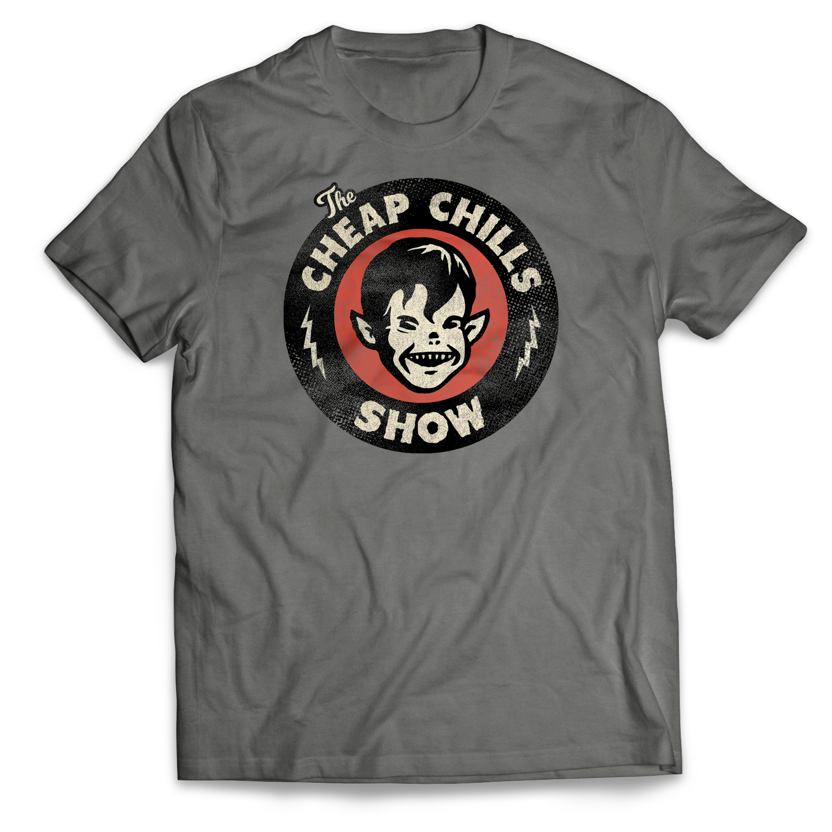 Cheap Chills Show Official Logo T-shirtWeathered print makes it look like you were totally a fan of the podcast before there was one. - Get it on Amazon.comGet the Premium (slim cut)