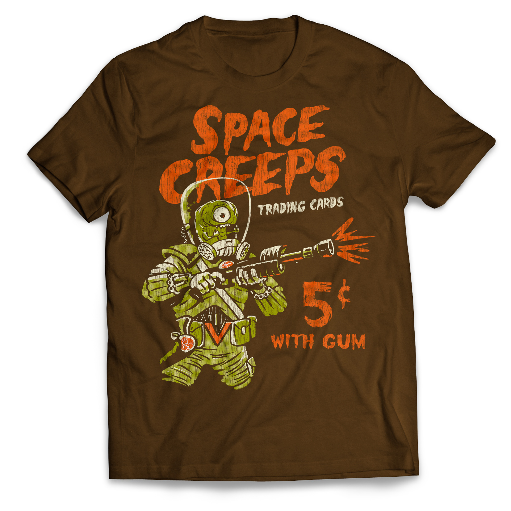 Space Creeps 5₵ With Gum T-shirtYou can almost smell the gum (not included). This tee shirt has that retro collectible card look and features an alien, Martian ray-gun and vintage-style graphics. - Get it on Amazon.comGet the Premium (Slim cut)