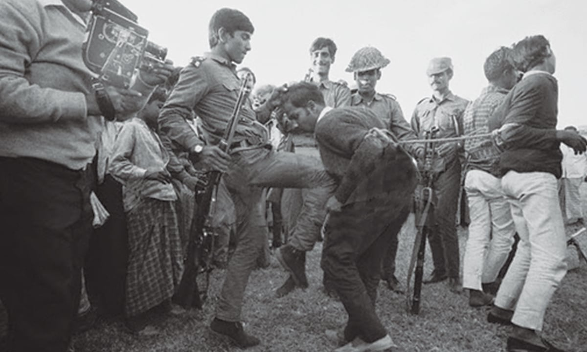 Pakistani soldiers torturing a Bangladeshi liberation fighter in 1971. Image:    DAWN