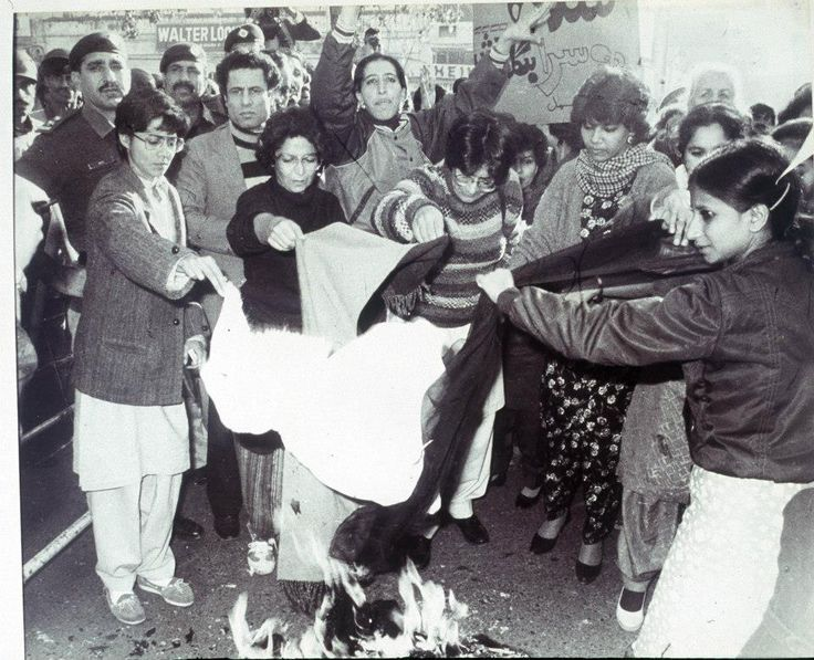 Lahore, February 13th 1983: An iconic photo of women burning their dupattas during protests against General Zia's Islamization programs. Photo: Rahat Ali Dar