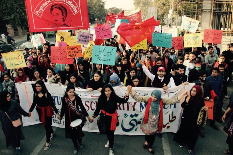 Students Solidarity March (Lahore, Dec 2018) demanding tuition freeze, restoration of students' unions and safe campuses. Photo:    Asian Marxist Review
