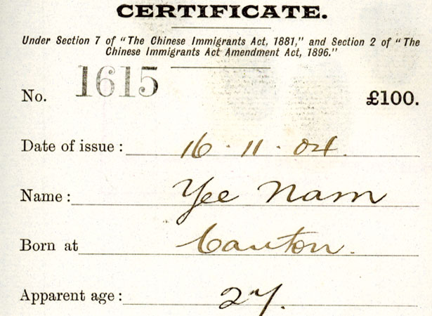 """A Poll Tax Certificate. On July 5th 1881, the New Zealand parliament passed the Chinese Immigrants Act. Among other stipulations, the Act imposed a £10 """"poll tax"""" (equivalent to NZ$1700 today) on Chinese immigrants and restricted the number that could enter the country. Image:    Archives New Zealand"""