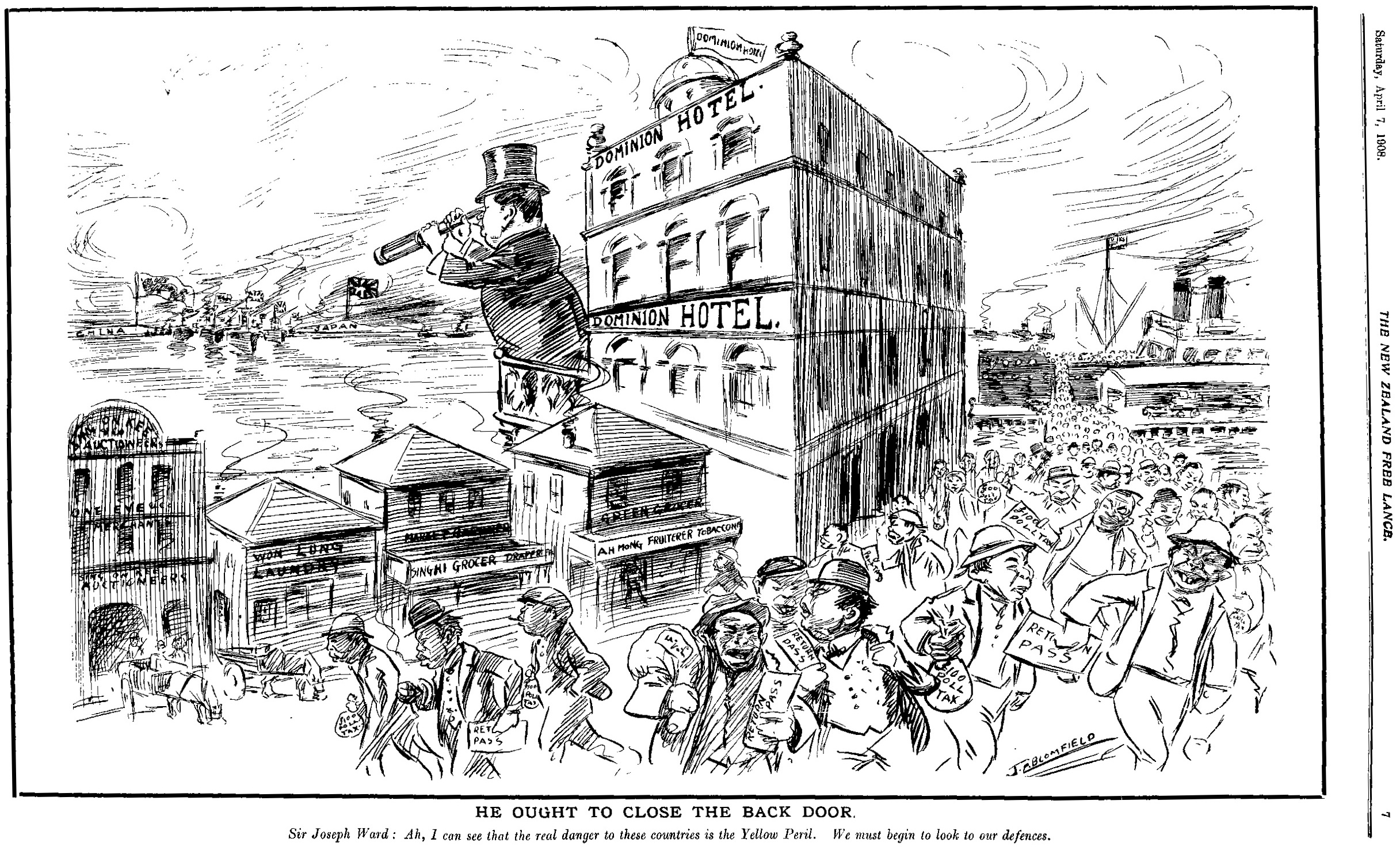 """1907: A cartoon in a local New Zealand newspaper about the """"Yellow Peril"""" threat to the country. Image:    Archives New Zealand"""