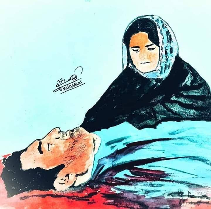 A sketch of Wrunga Luni sitting beside her brother's body. Arman Luni was allegedly tortured and killed by police for being an active member of PTM. Image:    Twitter