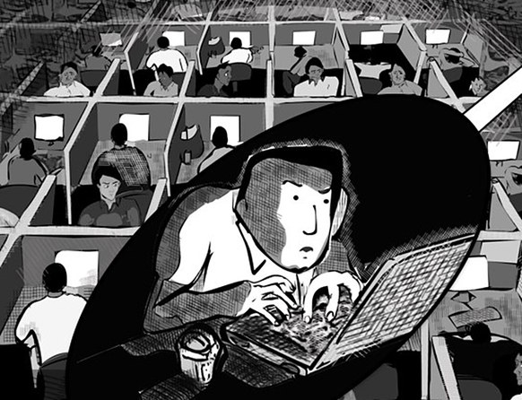 Illustration from a graphic novel narrating the story of tech labor trafficking from India to the US. The story is based on reports from the Center for Investigative Reporting. Source:    Techsploitation    by    Matt Smith