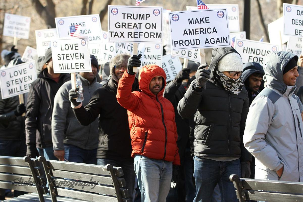 "The Republican Hindu Coalition holds a rally outside the White House, calling for visa relaxation and juxtaposing themselves, the ""good immigrants"", against those ""bad immigrants"": the job-snatching, the undocumented, and the unskilled. Image:    The Hindu"