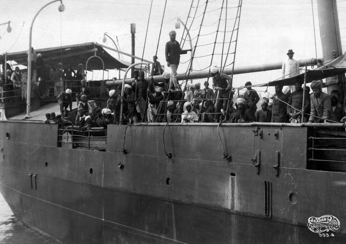 Komagata Maru steamship arrives in Vancouver, BC carrying 376 passengers of Sikh, Muslim and Hindu origin. Image: Leonard Frank/Vancouver Public Library