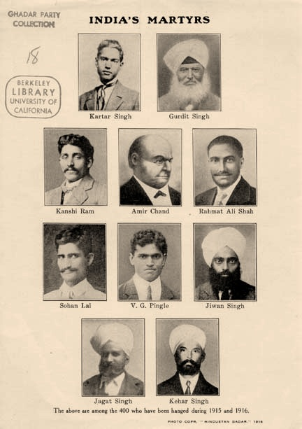 Handbill showing photographs of ten Ghadar members who were hanged in India by the British after the attempted revolution in 1915. Kartar Singh Sarabarbha (Top-Left) was 19 at the time of his imprisonment. Image:    Wikipedia