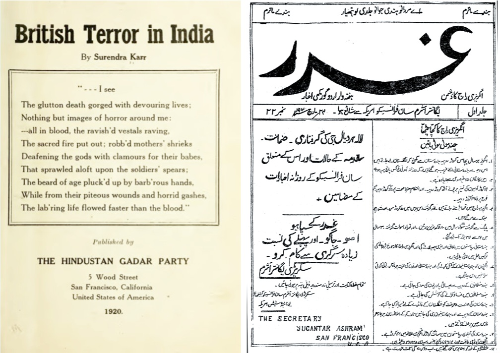 Left: A page from the book British Terror in India, published by Hindustan Gadar Party in 1920. Source:    Twitter   .    Right: Ghadar Party advertisement for new members. Source:    Wikipedia
