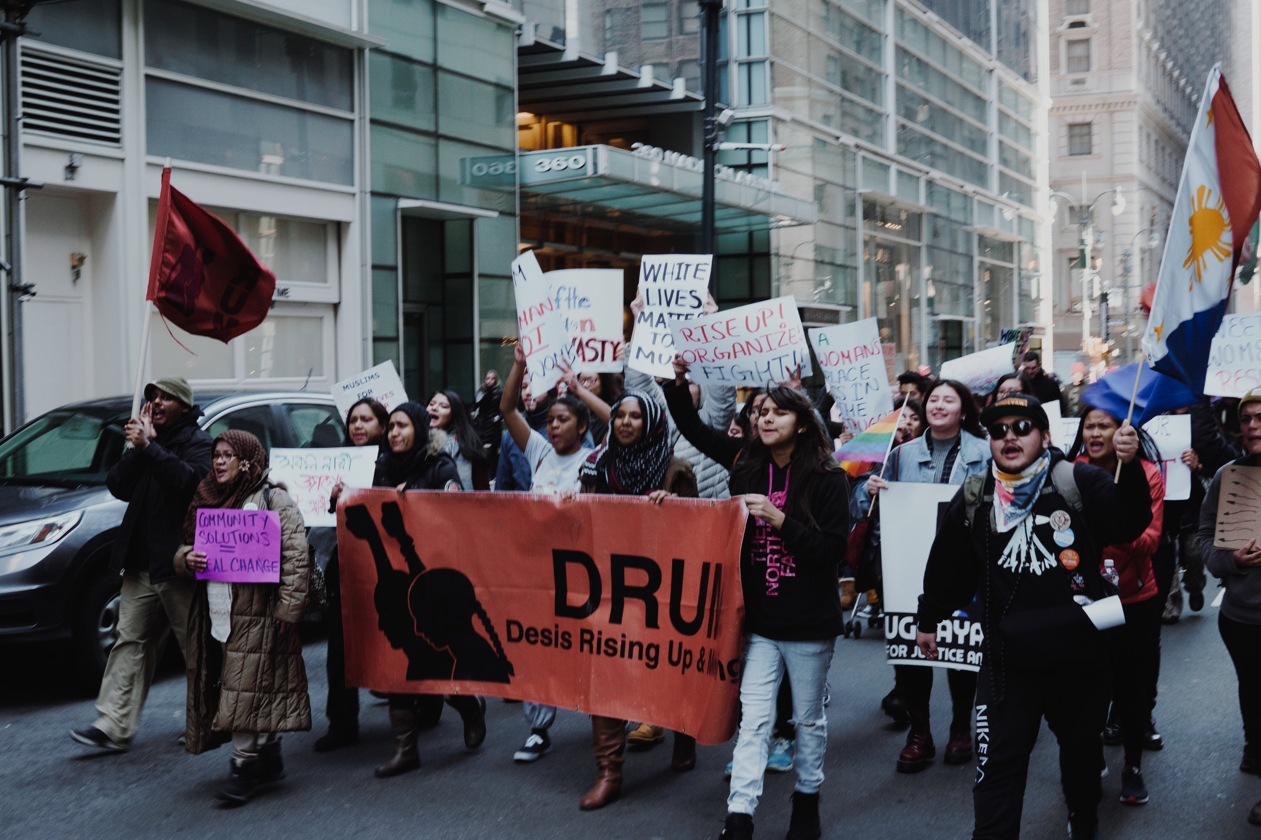 Desis Rising up & Moving (DRUM) at the Women's March on January 21, 2017. This was the largest single-day protest in US history. Image:    Wikimedia   .