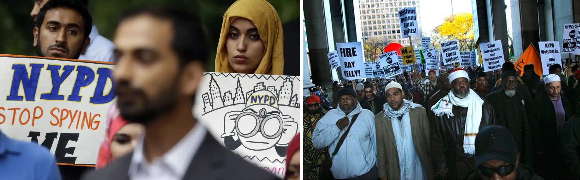 Community members protest the NYPD's illegal surveillance of Muslims after 2001, which failed to produce a single intelligence lead by the police's own admission and ultimately led to settlements to prevent future abuses. Image left:    Seth Wenig, AP   ; image right:    Bebeto Mathews, AP   .